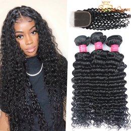 Malaysian Deep Wave Hair Bundles With 4x4 Lace Closure Unprocessed Deep Wave Human Hair Weave Bundles on Sale