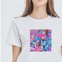 Wholesale jojo bizarre adventure for sale - Group buy Jojo Bizarre Women T Shirt Adventure Cartoon White shirts Oversize Hipster Japanese Style Ulzzang Fashion Kawaii Russia Free