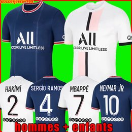 Tops MBAPPE soccer jerseys HAKIMI SERGIO RAMOS 21 22 Maillots de football shirt 2021 2022 MARQUINHOS VERRATTI men kids kit uniforms enfants maillot foot fourth on Sale