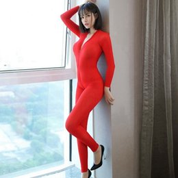 Wholesale womens fetish costume for sale - Group buy Womens Smooth Bodystocking Clubwear Sexy Hot Erotic Lingerie Bodysuit Costumes Fetish Body Suits Open Crotch Babydoll Underwear2etq