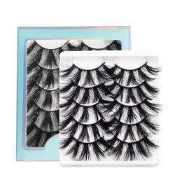 venda por atacado 5 pares 5d mink cílios de cabelo conjunto falso cílio macio multi camada alongada olho espessa cílios extensão ferramenta de maquiagem beleza faux lash