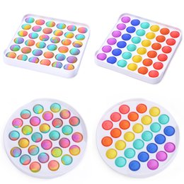 Wholesale Push PoP It Fidget Toy Colorful ABS Sensory Toys Rainbow Bubble Anxiety Stress Relief Stuff For Kids Children