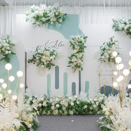 wedding arch white flowers UK - Simulation Floral Wedding Stage Arch Decoration Road Lead Point Corner Flower Backdrop White Artificial Flowers Decorative & Wreaths