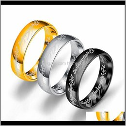 lord rings movies 2021 - Low Price 3 Colors Titanium Steel The Hobbit Lord Of The Rings Finger Ring 6Mm 18K Gold Silver Black Magic Rings For Women Men Movie X Gxeoa