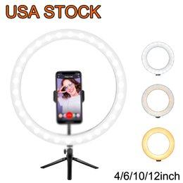 """12 """"Halka Işık LED Masaüstü Öz Selfie USB Leds Masa Kamera Halkaları 3 Renk Aydınlatma Tripod Standı Cep Telefonu Tutucu ve Fotoğraf Makyajı Live Streaming"""