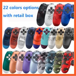 highe quality all function 22 Colors PS4 Controller Vibration Joystick bluetooth Wireless Gamepad for Sony Play Station With Retail package box EU and US on Sale