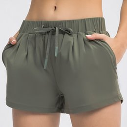 L-063 Womens Yoga Shorts Feminine Casual Outfit Cinchable Drawcord Running Short Pants Ladies Sportswear Solid Color Girls Exercise Fitness Wear on Sale