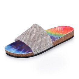 Discount rainbow flip flops sandals Women's Slippers Rhinestones Sandals Candy Color Ladies Bling Rainbow Flat Shoes Female Slides Flip Flops Summer Beach 2021 New