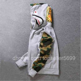 Wholesale shorts bape resale online - Men s Hoodie shark pattern long sleeve Sweatshirt cotton natural hip hop wear is perfect with jeans and shorts