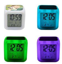 LED Table Clocks Sublimation Blanks Glow Electronics Square Bedroom Colorful Alarm Reminder Clock Children 8 Kinds Of Ringtones WWA284 on Sale