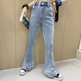 Fashion old kids jeans 2021 spring children high waist denim pants girls All-match cowboy Flared trousers A6279 on Sale