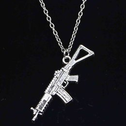 chain link machine UK - Necklace Fashion 45x13mm Machine Gun Assault Rifle Pendants Short Long Women Men Colar Gift Jewelry Choker