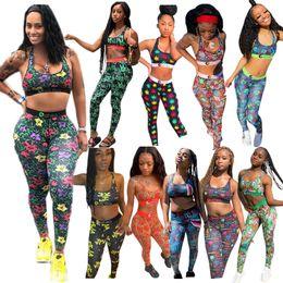 Wholesale 10 Design Women Swimwear Summer Vest Tanks + Pants Leggings 2 Piece Outfits Shark Tiger Print Tracksuit Fashion Bra Sports Suit Swimsuit S-XL