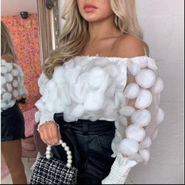 womens black sheer blouse UK - Womens Shirt Sexy Off Shoulder tops and blouses Mesh Sheer Puff Sleeve Summer 3D Flower Vintage White Women Blouse