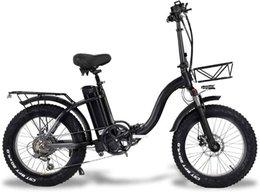 Y20 Folding Electric Snow Bike, 750W Motor, 48V 20Ah Battery, 20 Inch Mountain Bike Fat Bike, Pedal Assist E-bike with Basket