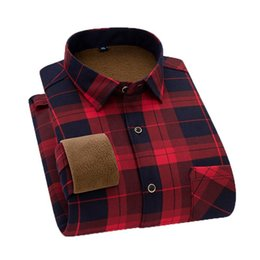 Wholesale flannel shirts for men resale online - Camisa Social Winter Dress Shirt For Men Casual Long Sleeve Plaid cotton Warm Fleece Lining Fashion Soft Flannel Men s Shirts