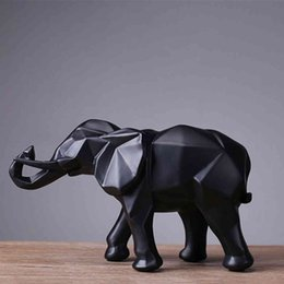 elephant gift craft NZ - Fashion Abstract Black Elephant Statue Resin Ornaments Home Decoration Accessories Gift Geometric Elephant Sculpture Crafts room 210326