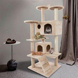 Новый 52-дюймовый кот альпинистская башня активность подъема дерева общая мебель кошки гнездящимися плата плата котенка питомца играет бежевый оптом на Распродаже