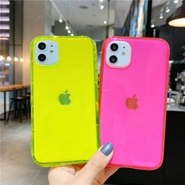caso de telefone clara venda por atacado-Neon Fluorescente Cor Telefone Back Cover para iPhone Mini Plus Soft TPU Clowe Case para iPhone Pro XR X XS Max Choque