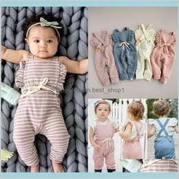 toddler pink overalls 2021 - 2019 Born Baby Girl Boy Romper Backless Stripe Ruffle Long Sleelve Overalls Jumpsuit Toddler Clothing E19231 Kids Maternity 36Rmd