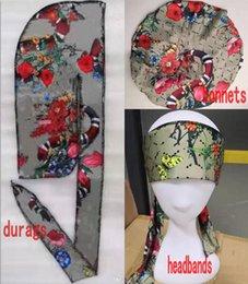 Wholesale Durag Bonnet headband 3pcs Set hats for designer Women Sleep Cap And Men Doo Rag Bonnets Caps Comfortable Sleeping beanies