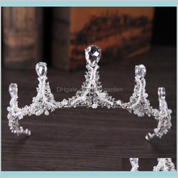 Discount european rhinestone tiara Wedding European Bride Tiaras Baroque Luxury Rhinestone Crystal Crown The Queen Diamond Princess Korean White Shining Jkokv