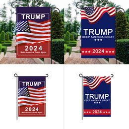 Venta al por mayor de Presidente Donald Trump 2024 Bandera 30 * 45cm Maga Republicano EE.UU. Flags Anti Biden Nunca Biden Funny Garden Campaign Banner G31701