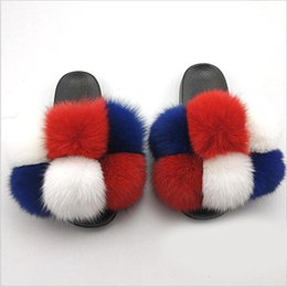 Discount rainbow flip flops sandals Fashion Women Fluffy Real Fur Slides Furry Raccoon Sandals Ladies Summer Cute Ball Flip Flops Rainbow Shoes Slippers