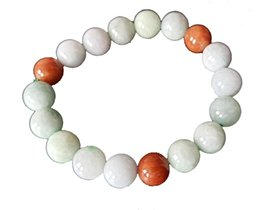 10mm Natural Multicolor Beaded Jade Bracelet Free Ship ping