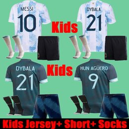 Discount argentina socks Thailand 2021 Argentina Kids Soccer Jerseys Shorts Socks Full Uniform Set kits 21 22 Argentine Child DYBALA KUN AGUERO MESSI Copa america Football Shirts