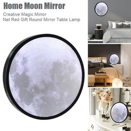 moon night lights UK - Moon Mirror Three Light Colors USB Charging Night Makeup Table Wall For Bathroom Bedroom LED Modules