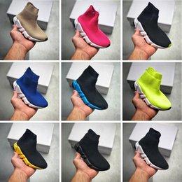 Baby Designers Mode Snelheid Runner Schoenen Italië Ontwerp Contrasted Gedrukte Gerecycleerde Knit Crew Triple-Black Wit Roze Rood Grijze Hight Top Kids Edition Sock Sneakers