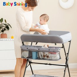 Discount baby rock clothes Shining Crib Bed Cot Diaper Clothes Changing Multi-Function Newborn Baby Care Table Foldable Crib 210317
