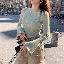Wholesale bell sleeve sweaters for sale - Group buy Women Sweater MISHOW Autumn Winter Solid Round Neck Knit Causal Basic Slim Fit Bell Sleeve MX19C5450