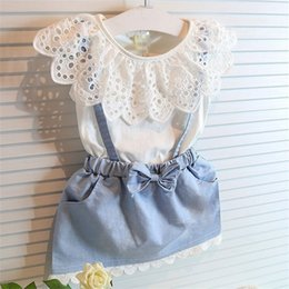 Wholesale sleeveless denim chiffon dress for sale - Group buy Girl Lace bowknot braces denims suits Summer Chiffon Lace cotton Sleeveless T shirt Short skirt dress suit baby clothes V2
