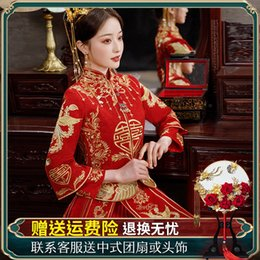 Xiuhe Dress Bride 2021 New Chinese Wedding Toast Dress Womens Small Bride Outfit Slimming Summer on Sale