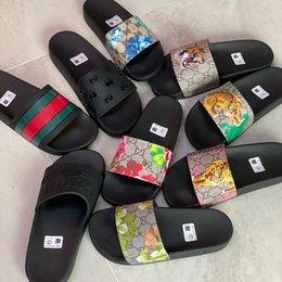 Wholesale Designer Rubber slide sandal Floral brocade men slipper Gear bottoms Flip Flops women striped Beach causal slipper with Box US5-11