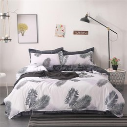 teen twin bedding sets Australia - Home Textile King Queen Twin Bed Linen Girl Kid Teen Bedding Set White Black Leaf Duvet Quilt Cover Pillowcase Flat Sheet Sets