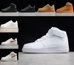 En Kaliteli Kuvvetler Erkekler Düşük Kaykay Ayakkabı Bir Unisex 1 Örgü Euro Hava Yüksek Kadınlar Tüm Kırmızı Siyah Beyaz Deri Trainer Sneaker Boyutu 36-46
