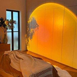 Toptan satış USB Gökkuşağı Günbatımı Projektör Atmosfer Gece Lambası Ev Kahve Dükkanı Arka Plan Duvar Dekorasyon Renkli Lamba