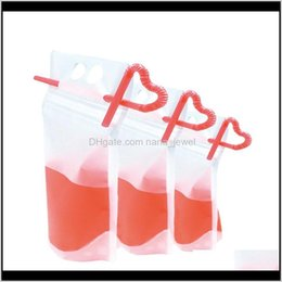 clear straws 2021 - Clear Drink Pouches Bags Frosted Zipper Stand-up Plastic Drinking Bag With Straw With Holder Reclosable Heat-proof jllOQl best_shop1