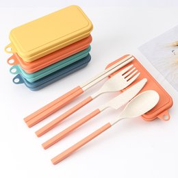Creative Wheat Straw Folding Cutlery Set Removable Knife Fork Spoon Chopsticks Portable Picnic Tool on Sale