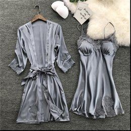 Wholesale kimono sleep resale online - Summer Night Robe Sexy Womens Sleepwears PC Strap Top Suit Sets Casual Pajamas Home Wear Nightwear Sleep Kimono Gown