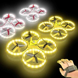 Wholesale Flying Watch Gesture Helicopter UFO RC Drone Hand Infrared flayaball Electronic Quadcopter Interactive Induction dron Kids toys 210325