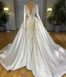 Discount wedding dress satin detachable train Gorgeous Wedding Dresses With Detachable Train Satin Pearls Beads Sweep Mermaid Bridal Gowns Long Sleeve Marriage Dress Robe De Mariee