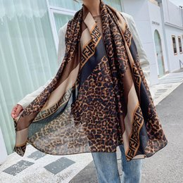 leopard print cotton scarves NZ - Fashion Autumn And Winter Leopard Geometric Pattern Cotton Linen Ladies Scarf Print F Letter Shawl Dual-use Scarves