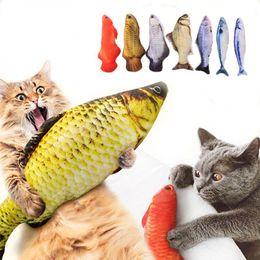 Опт Pet Soft Plush 3D Форма рыбы Кошка укуса укус Игрушка Интерактивный подарок Рыба Catnip Игрушки Фаршированные подушки Куклы Моделирование Рыбы играют