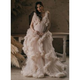 baby shower gowns 2021 - Fashion Tulle Long Maternity Dress For Po Shoot Baby Shower Soft Ruffles Tiered Mesh Gowns Pregnancy Clothes Casual Dresses