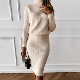 Autumn Women's Knitting Costume Turtleneck Solid Color Pullover Sweater + Slim Skirt Two-Piece Set Work Dresses on Sale