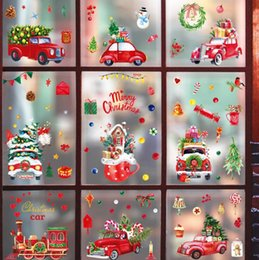 Wholesale Cute Santa Claus Window Glass stickers casement Holiday Decoration Christmas shutter Sticker Scene Arrangement